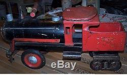 Vintage Keystone Child's Ride On Metal Toy Train Locomotive 1920s 1930s