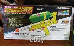 Vintage Larami Super Soaker Water Gun 50 MiB with Bonus 1990 Yellow Read