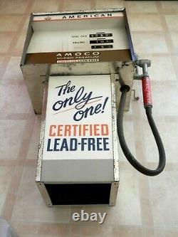 Vintage Large PROMOTIONAL AMOCO SUPER PREMIUM Pedal Car Gas Pump Sign Toy RARE