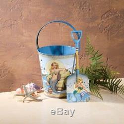 Vintage Look Tin Food Safe Beach Sand Pail Bucket w Shovel MERMAID