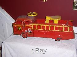 Vintage Marx Fire Truck childs ride-on ladder truck