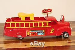 Vintage Marx V. F. D. Ride On Fire Truck Metal