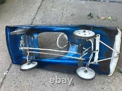 Vintage Midwest Sportster Pedal Car Blue with Steering Wheel