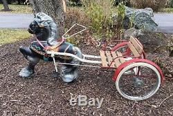 Vintage Mobo Horse with Pull Cart Sulky Original Pedal Car Horse