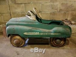 Vintage Murray PEDAL CAR CHAMPION JET FLOW DRIVE 1950s All Metal Dip Side Green