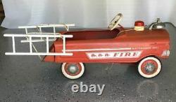 Vintage Murray Pedal Car Fire Truck Battalion No. 1 Orig Bell, Light, Ladders
