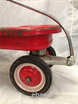 Vintage Murray Red Wagon Ball Bearing Hub Cap Wheels