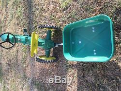 Vintage Narrow Front Cast Alum. John Deere Model 60 Pedal Tractor with Wagon 50's