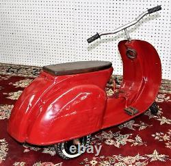 Vintage National Red Moped Scooter Pedal Car Circa 1950