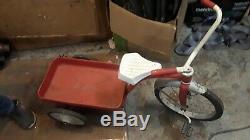Vintage Original Radio Flyer Garton Delivery Cycle Tricycle Wagon Rare NICE