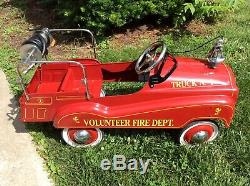 Vintage Pedal Car Antique Fire Ladder Truck With Hose Gearbox Toy Fire Engine