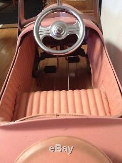 Vintage Pedal Car Custom Paint Hood Ornament Original Leather Seat