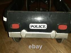 Vintage Police Highway Patrol Kid Metal Pedal Car by Burns Novelty & Toy Co