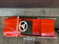 Vintage Pressed Metal Hamilton  Pedal U-Haul Jeep and Trailer Set- RESTORED