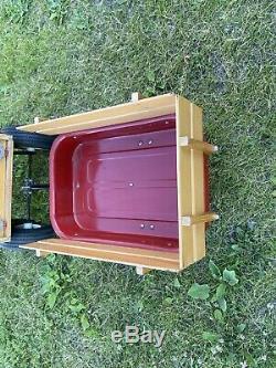 Vintage Radio Flyer 2 Wheel Metal Wagon Trailer Wood Sides Tow-Behind Great Cond