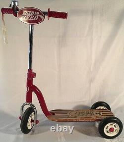 Vintage Radio Flyer Retro Style Red Wood Deck Kid Twist Trike Scooter Model #510
