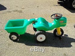 Vintage Rare Little Tikes Green Ride On Pedal Tractor & Cart Trailer Pickup Only