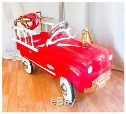 Vintage Restored Fire Chief Engine Pedal Car Truck GAS OIL SODA COLA