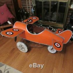 Vintage Scarce Metal Airplane Pedal Car Ride On Toy Orange with Logos RARE