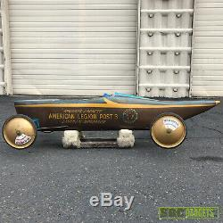 Vintage Soap Box Derby Race Car Downhill Racer Blue and Brown