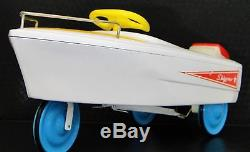 Vintage Speed Boat Pedal Car Show White with Blue Wheels Metal Midget Model