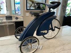 Vintage Steel Craft 1930's Blue Art Deco Tricycle