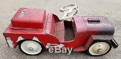 Vintage Structo Jeep Fire Department Pumper Truck No 26 Ride On Pedal Car Toy