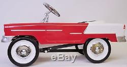 Vintage Style Pedal Car Red & White 55 Classic Steel Construction NEW