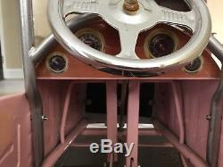 Vintage Style Pink Roadster Pedal Car Steel Body Rubber Tires Ford Model A