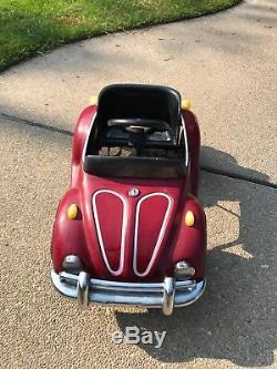 Vintage VTG Red 1970's VW Volkswagen Bug Beetle JUNIOR Pedal Car Nice Condition