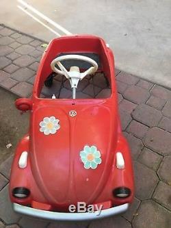 Vintage Volkswagen Red VW Bug Beetle Pedal Car AS-IS