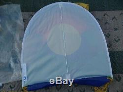 Vintage White Bird Kite 35 ft Rainbow Dragon Sun Moon Stars Signed w Bag CLEAN