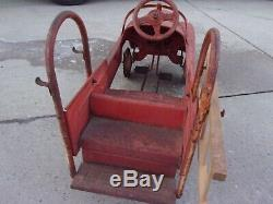 Vintage murray sad face fire truck pedal car