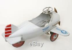 Vtg 1941 Original Murray Army Pursuit Child's Pedal Airplane Car w Turning Prop