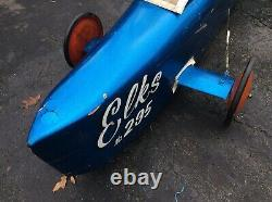 Vtg 60s ELKS CLUB 203 Vintage Soap Box Derby Car Blue Metal Flake Paint