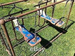 Vtg Antique J E Burke Co Aluminum Horse Head Child Swing Set Seat Pair Lot Of 2