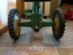 Vtg. Eska John Deere Large Model 620 Pedal Tractor 1950's with Flare Fender wagon